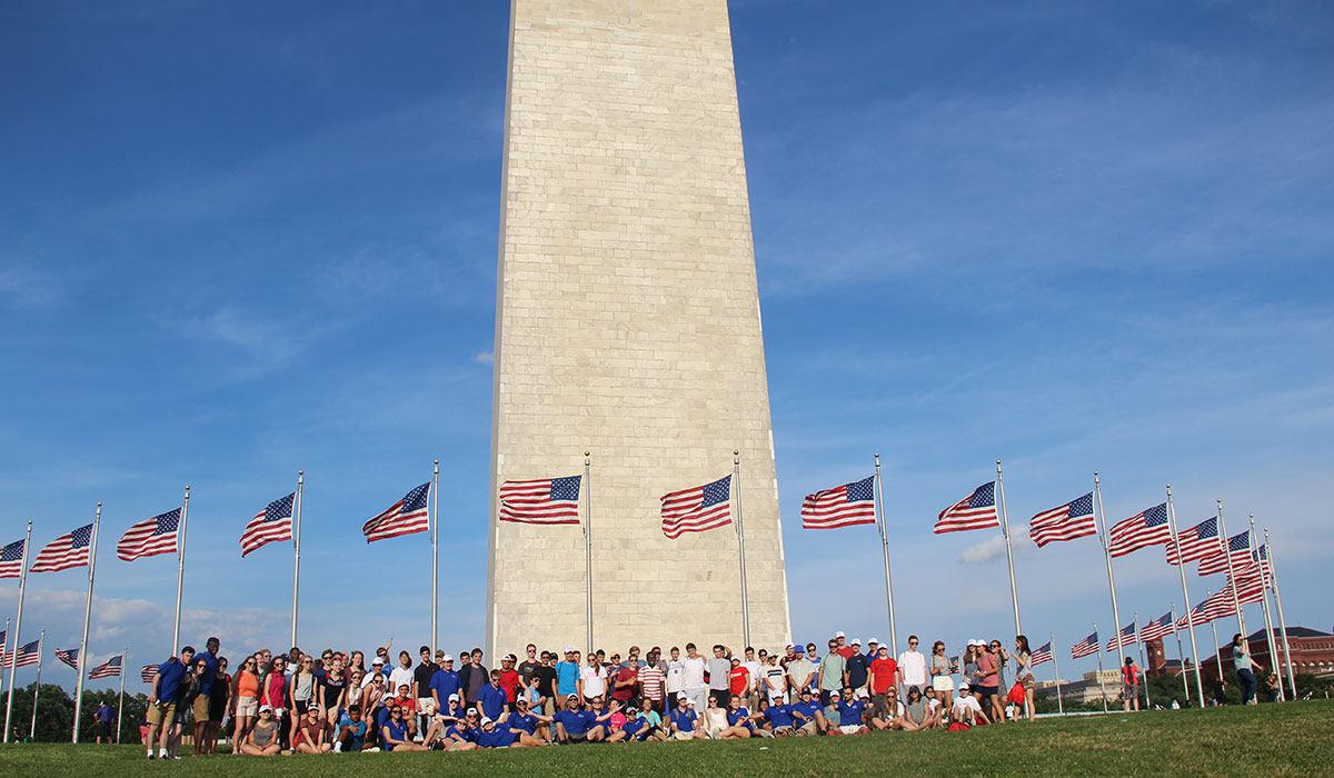 Summer Business Institute Students at the Washington Monument