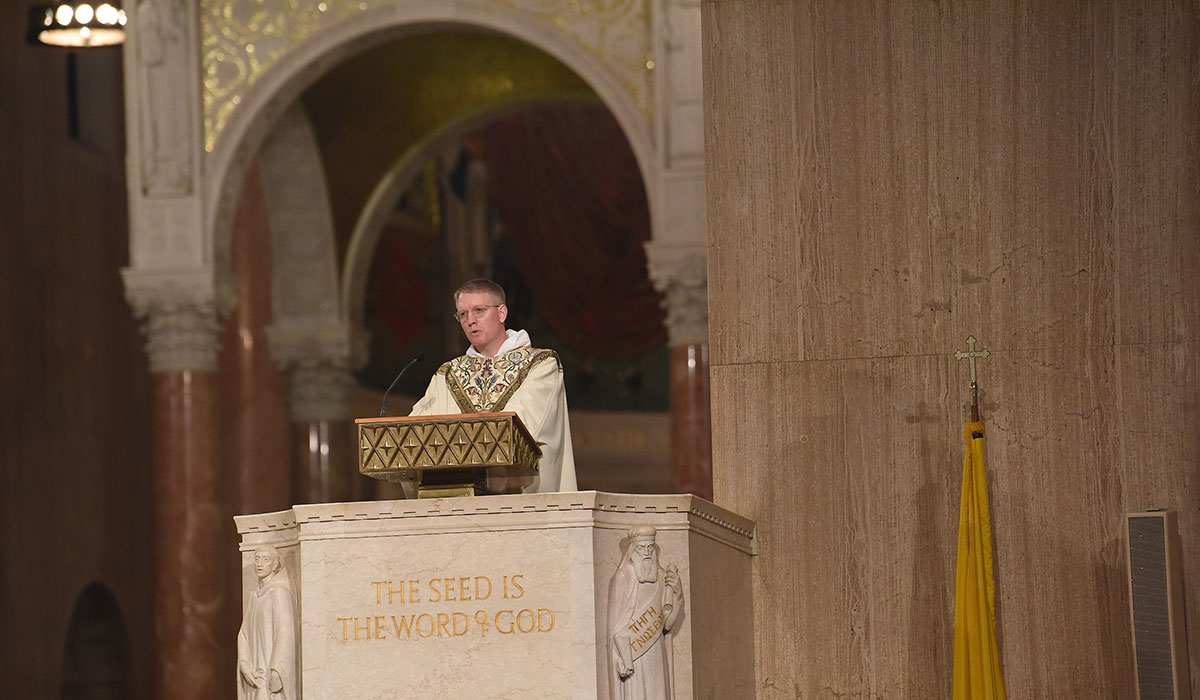 Rev. James Brent delivers homily