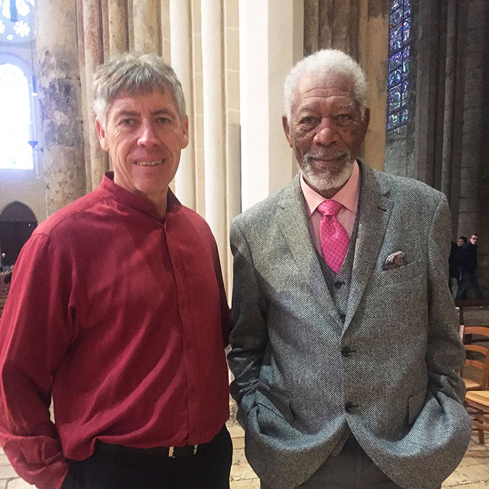 Julio Bermudez and Morgan Freeman