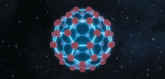 NASA depiction of a buckyball. Looks like a soccer ball molecule.