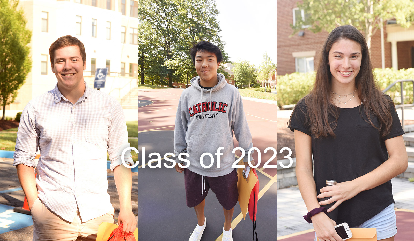 Three student profile photos from the class of 2023.