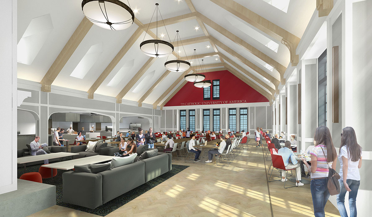 Architectural rendering of interior of dining hall showing students eating