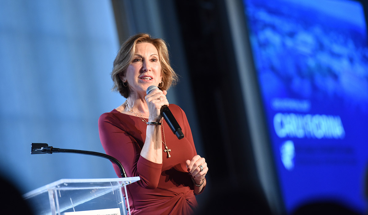 Carly Fiorina speaking at the Catholic University of America in 2017
