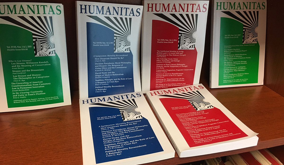 Image of the new Humanitas journals on a bookshelf