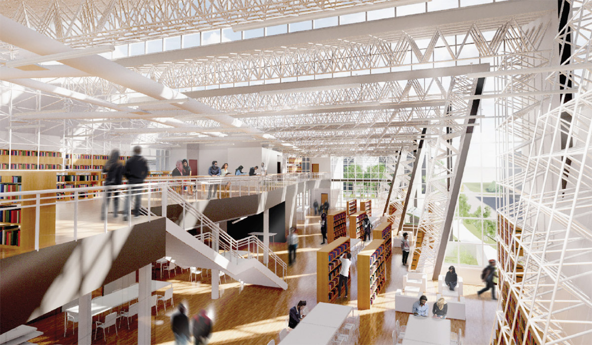 Rendering of the inside of a student-designed library