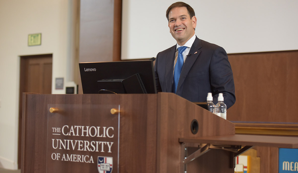 Marco Rubio speaking at the Catholic University of America