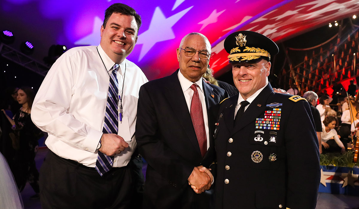 Michael Colbert with General Colin L. Powell and General Mark A. Milley