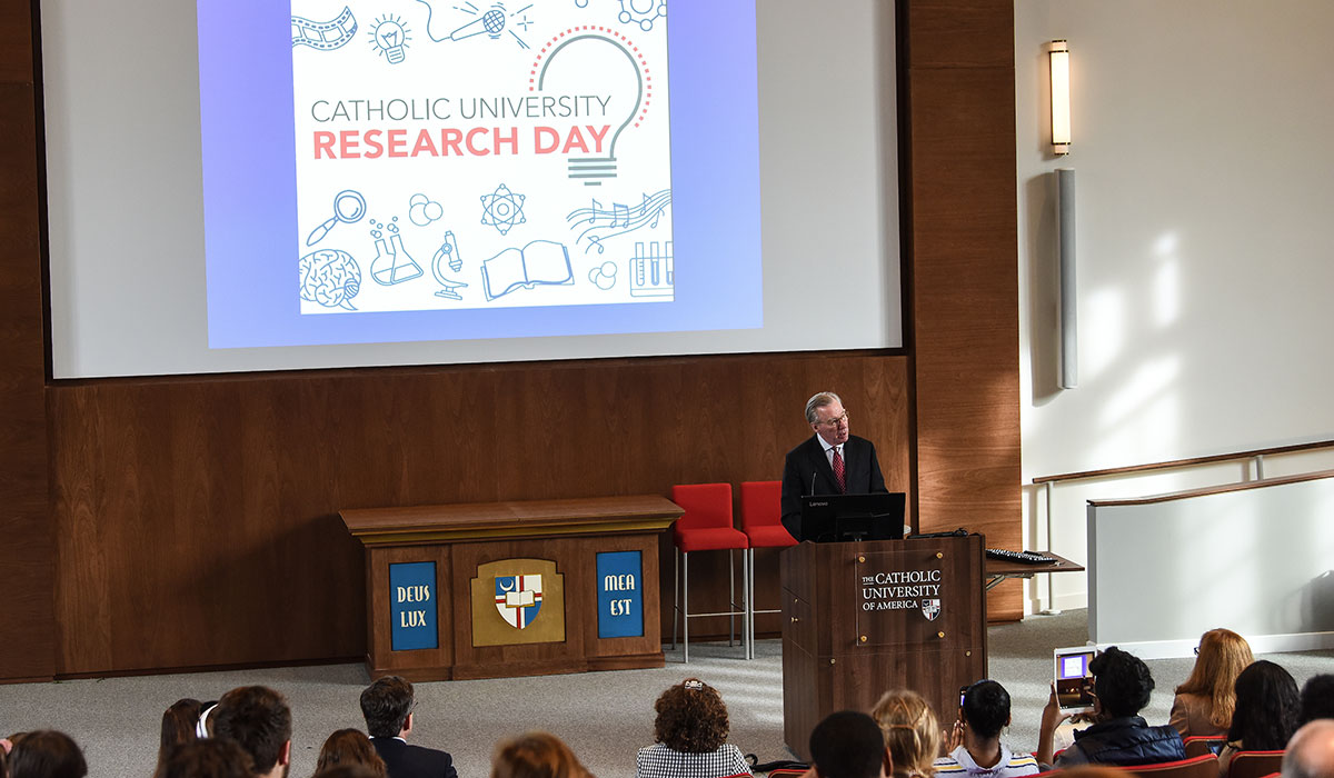 President John Garvey opens Research Day with talk