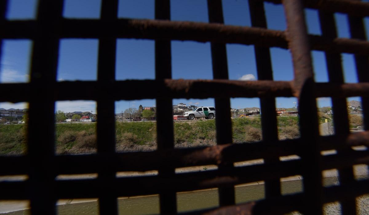 View of Ciudad Juarez, Mexico, through the border fence.