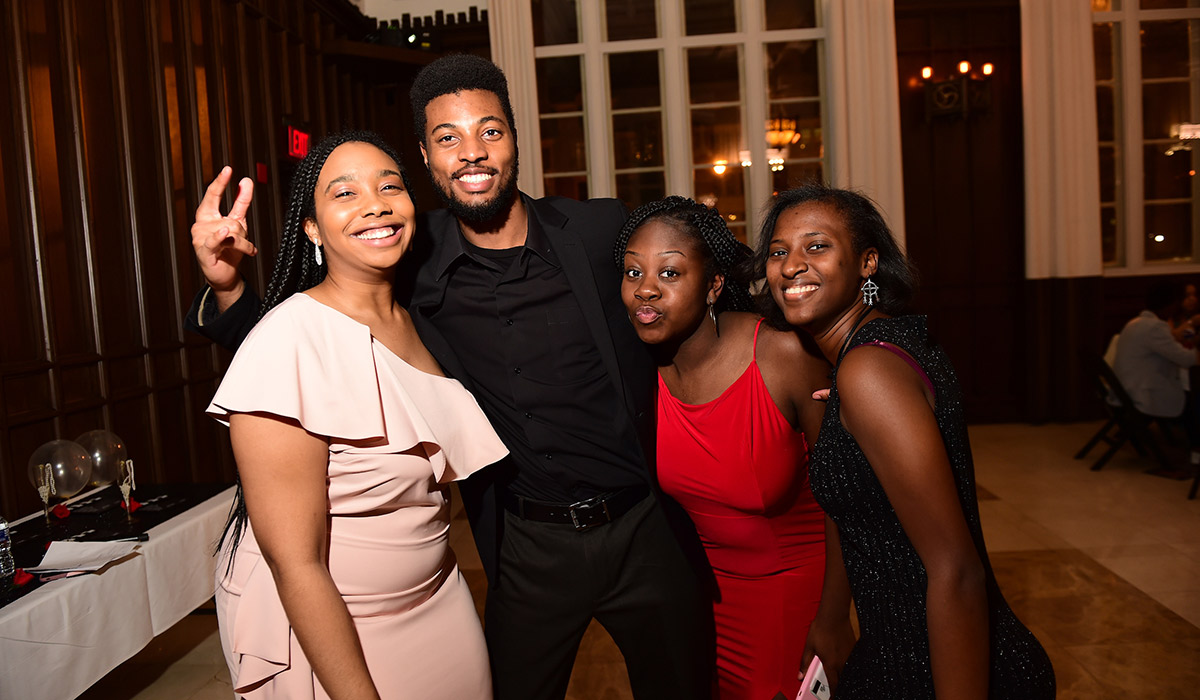 Students at the Black Student Alliance Black and White Tie Gala