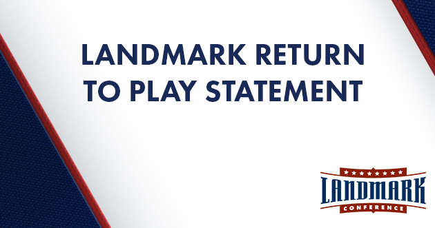 Graphic featuring the words Landmark return to play statement