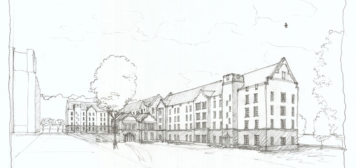 Architectural drawing of new residence hall
