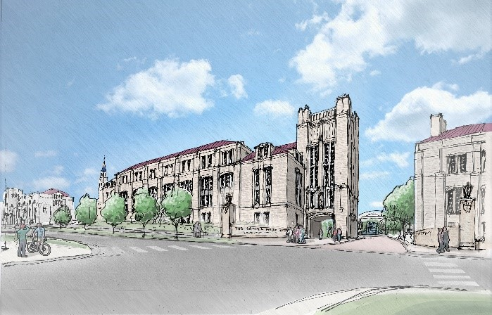 Rendering of new nursing school building