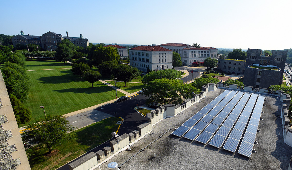 Solar panels on the top of Gibbons Hall