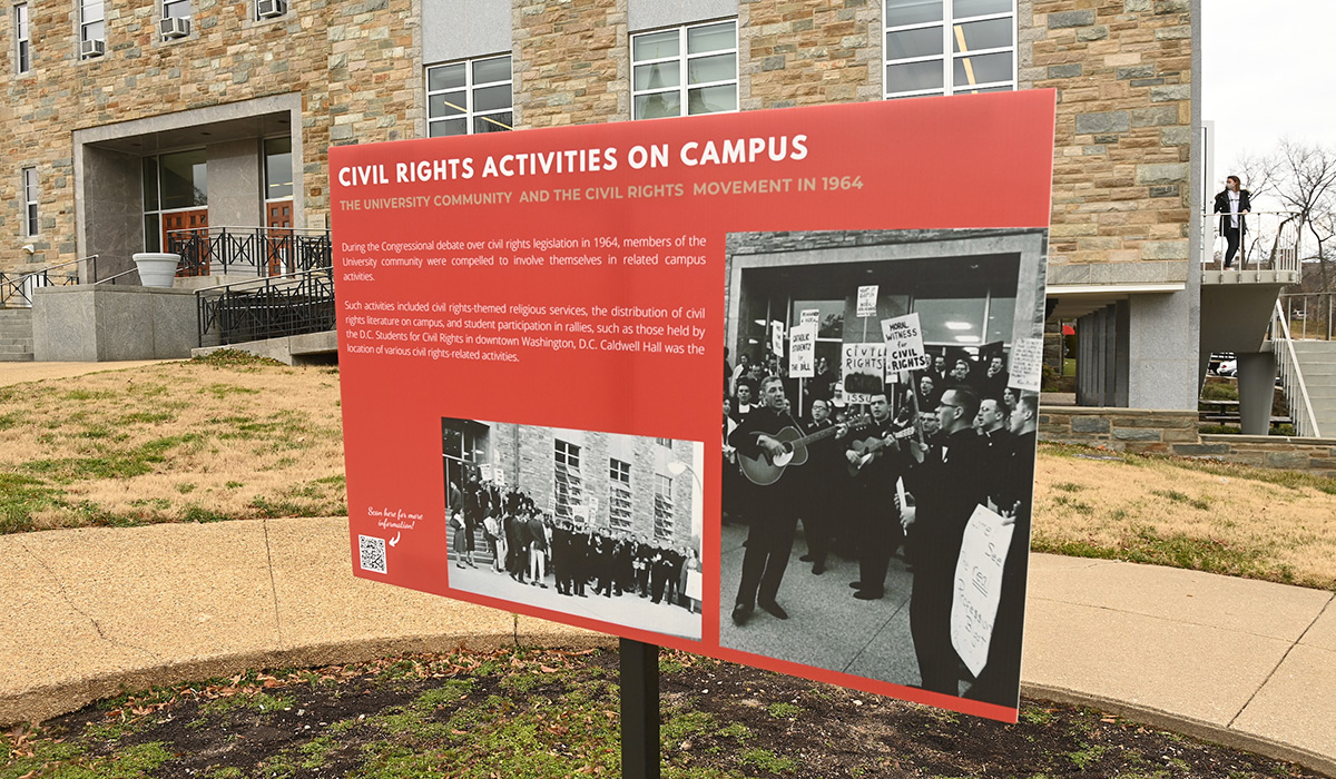 A sign along the Civil Rights Walking Tour of campus