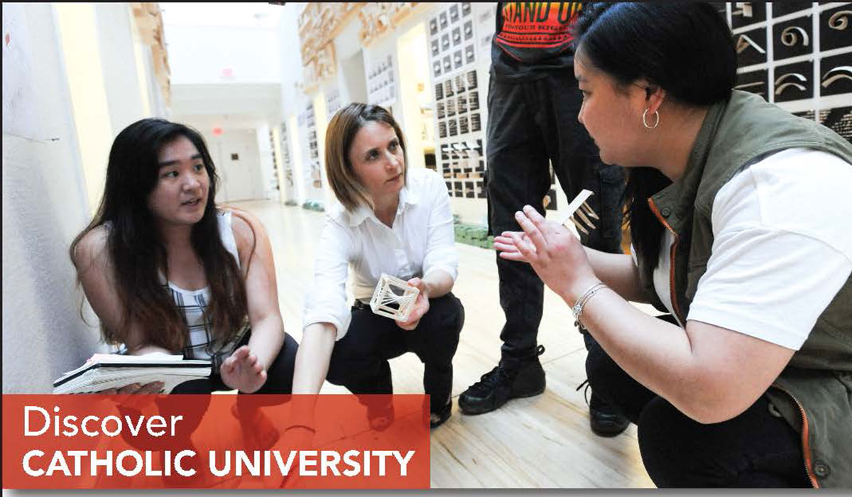 Architecture students and professor in Discover Catholic University ad
