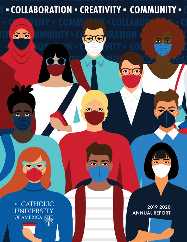 annual report cover image depicting animated characters wearing masks