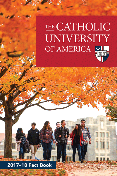 Cover of Fact Book depicting students walking across fall campus