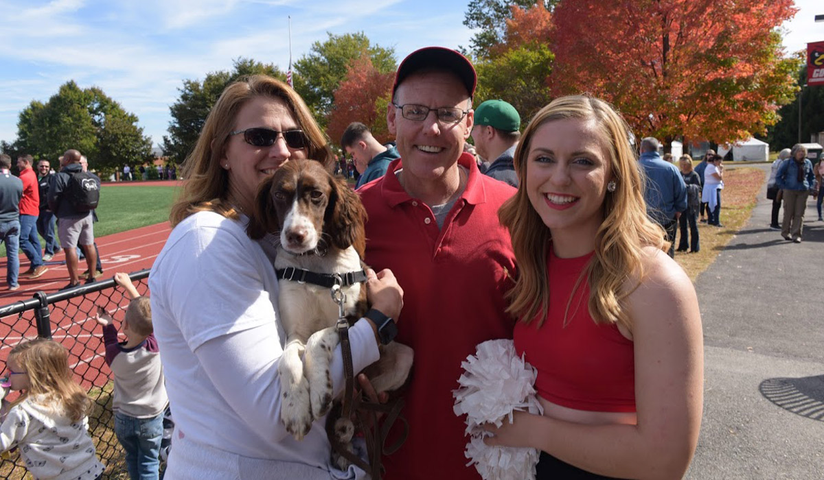 parents, dog, and student