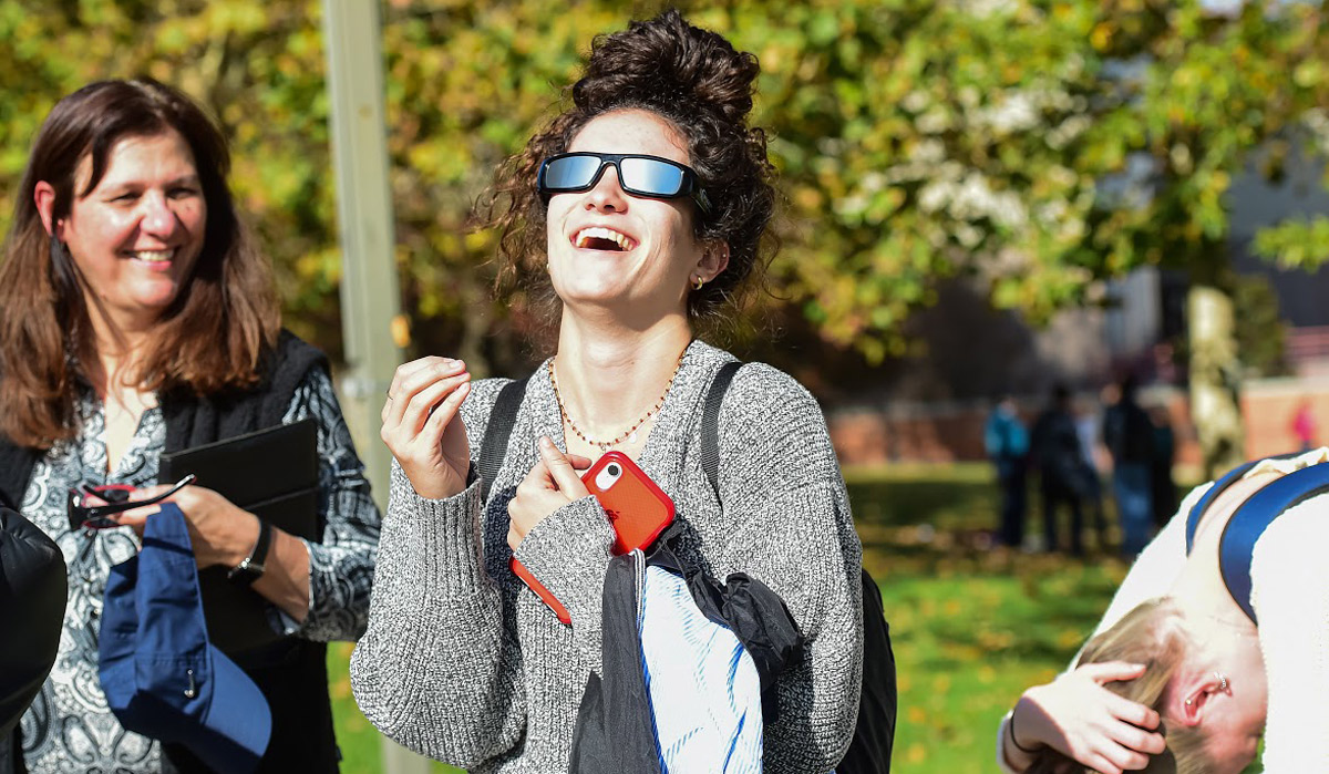 student wearing protective glasses