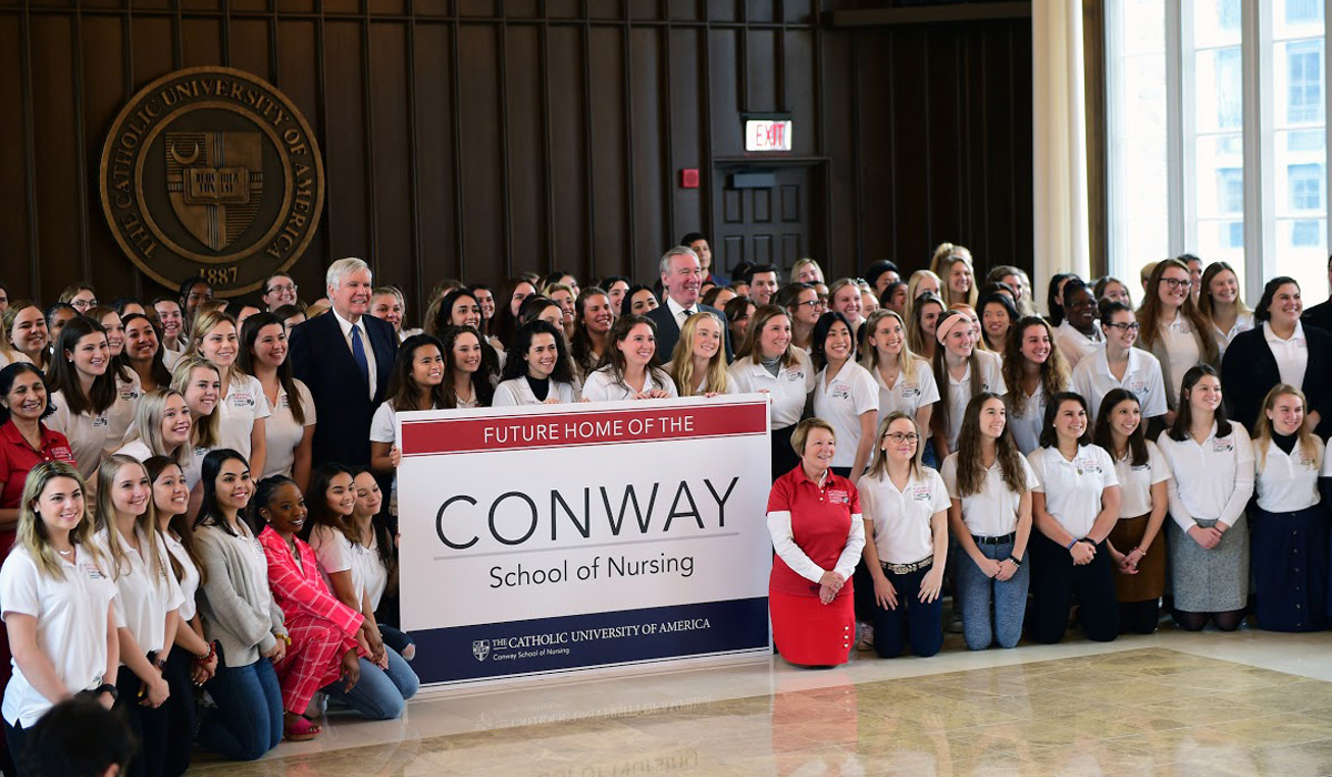 nursing students with Bill Conway