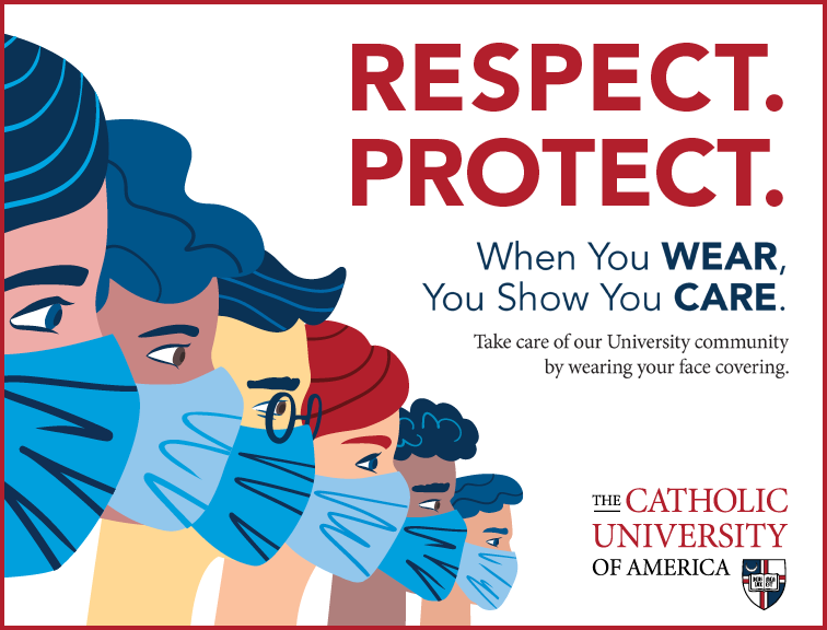 Respect. Protect. poster promoting wearing face coverings