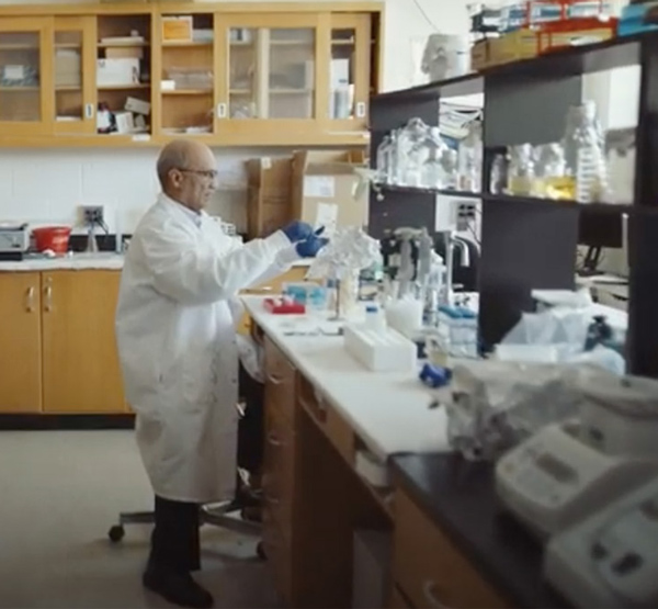 Dr. Rao in his biology lab