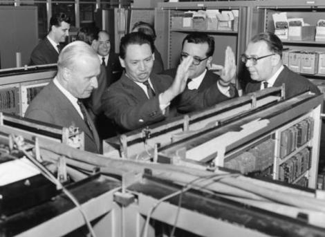 Mario Tchou with colleagues at the Olivetti Company of Italy.