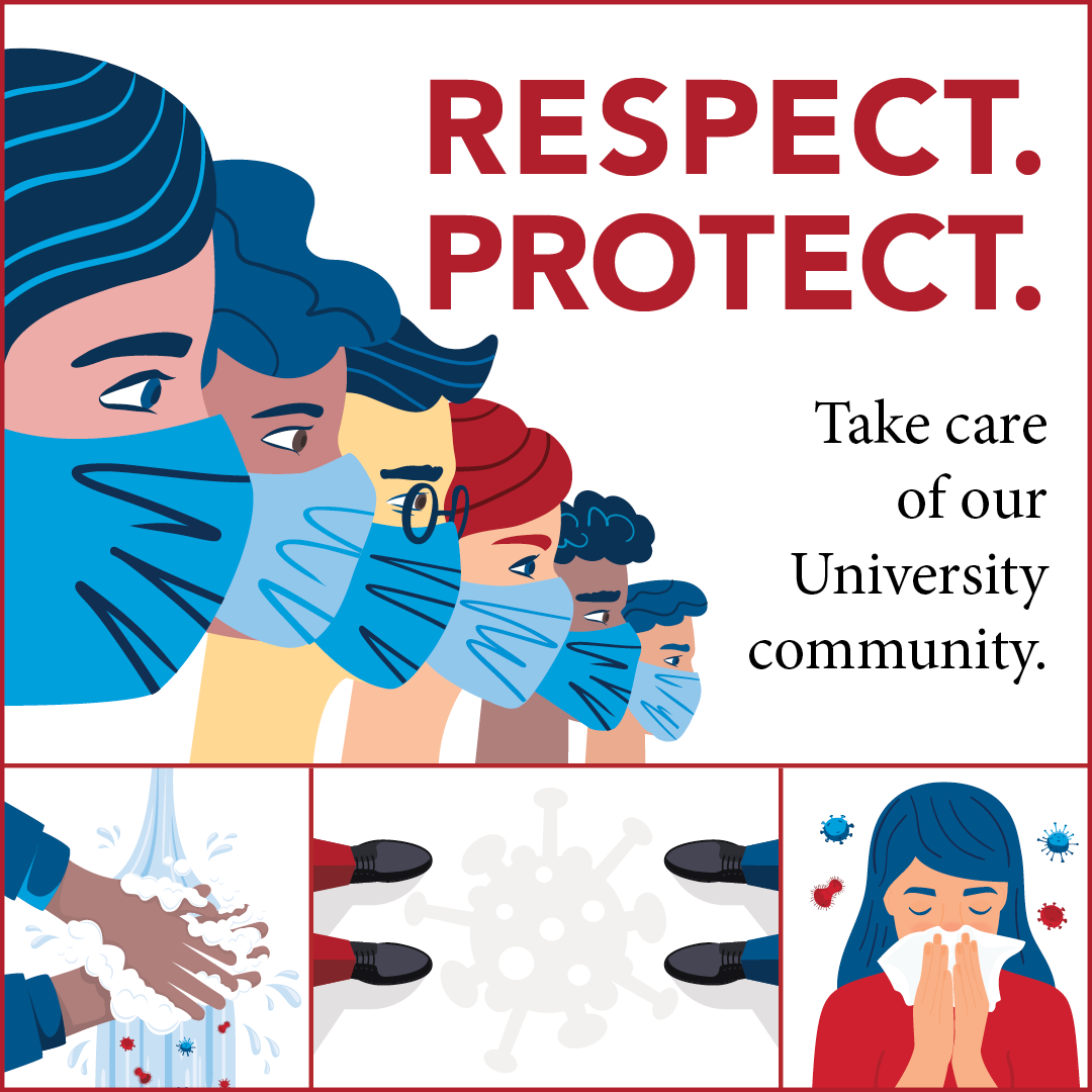 Respect. Protect. graphic with text that says take care of our university community.