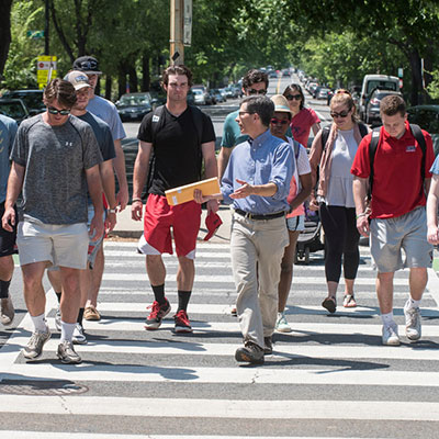 Students crossing DC street
