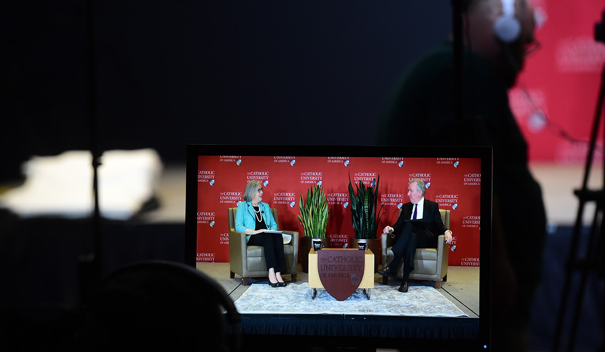 View of the livestream through a camera screen