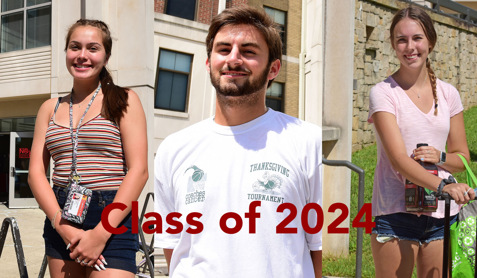 Three student profile photos from the class of 2024.