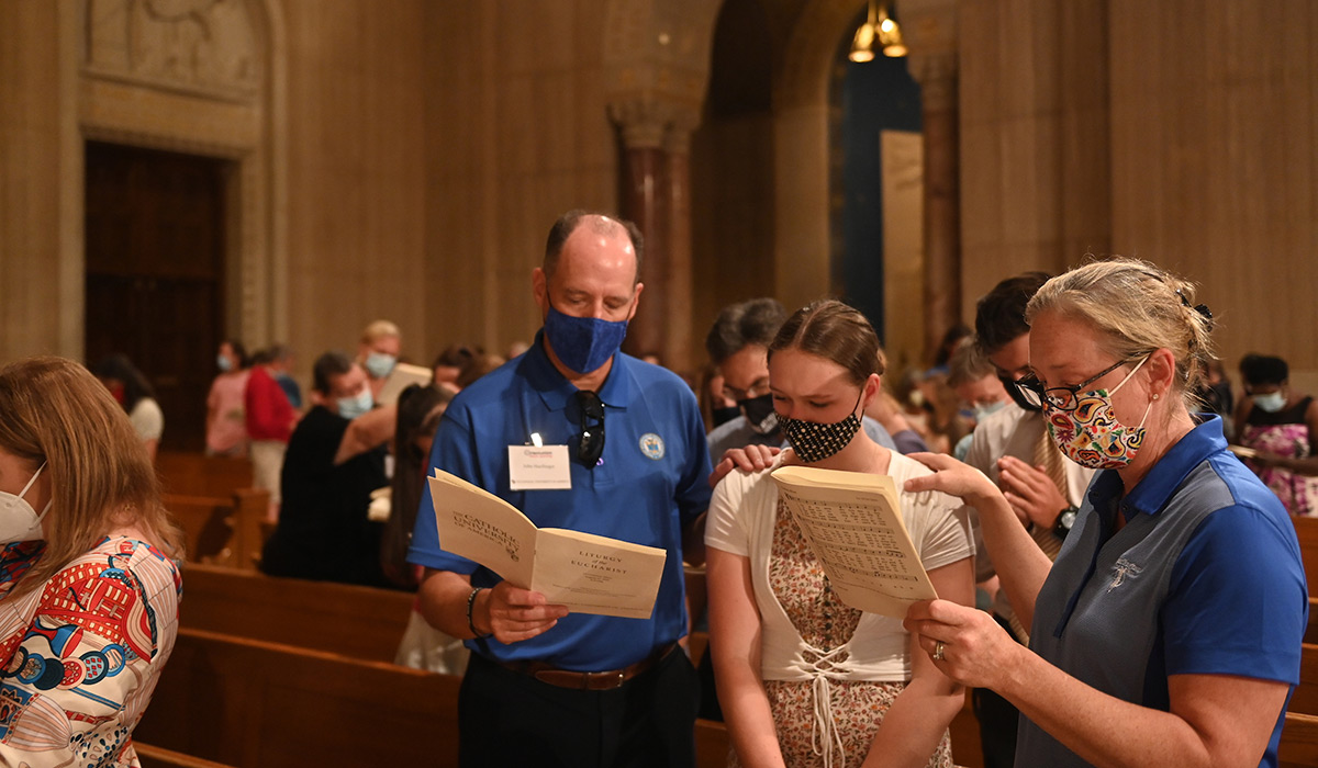 Students and parents at Mass