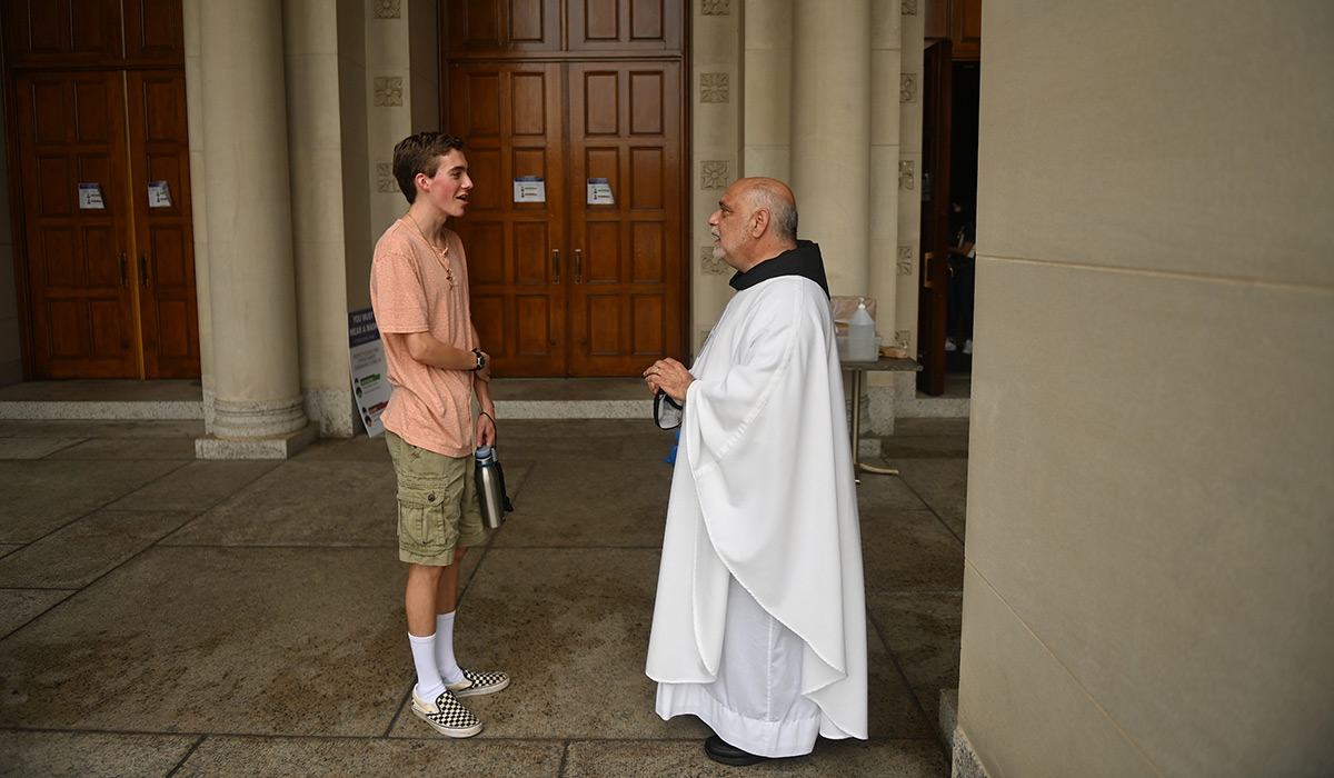 University chaplain talking with a student