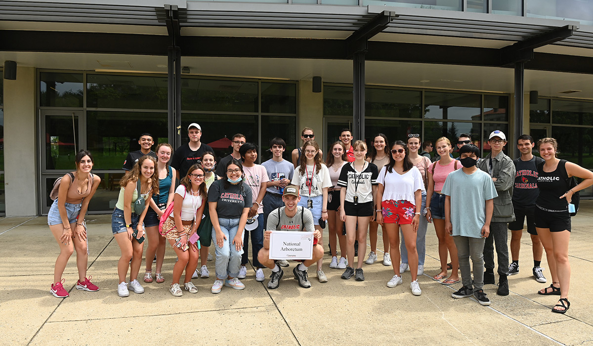Students pose as a group before an excursion to DC