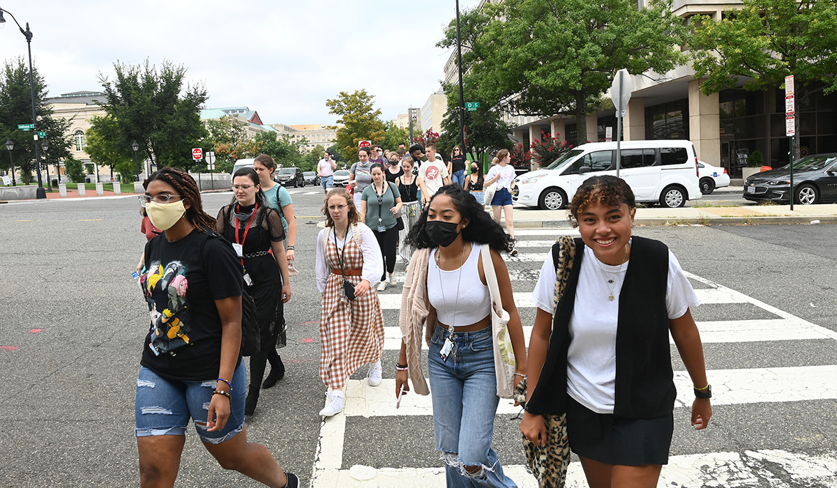 Students crossing a D.C. street