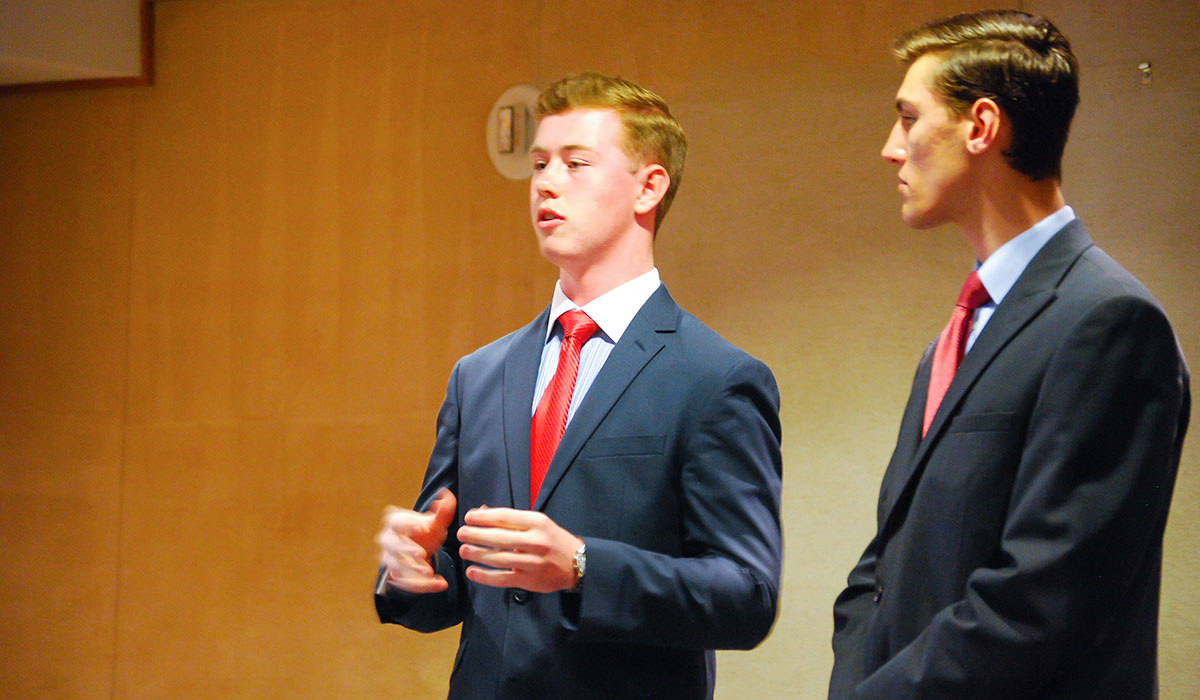 Students giving a presentation